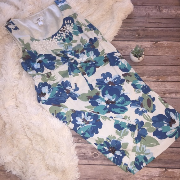 LOFT Dresses & Skirts - Ann Taylor loft watercolor floral beaded dress